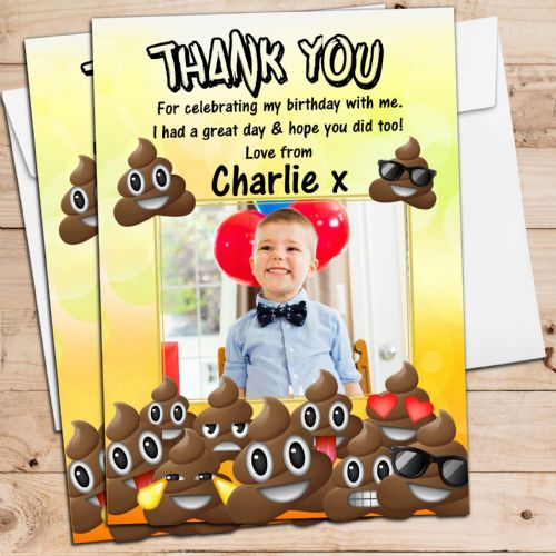 10 Personalised EMOJI POO Birthday Party Thank you PHOTO Cards N252